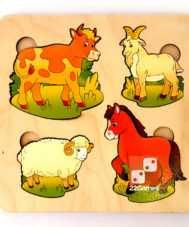 Деревянная развивающая доска Сегена «Домашние животные»