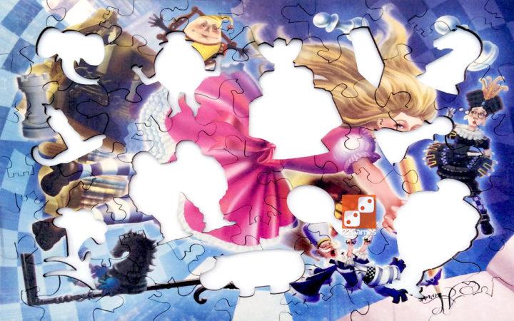 Фигурный деревянный пазл «Алиса в Зазеркалье»